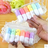 Wholesale Graffiti Marker Pens - Wholesale- 6 pcs set Mini Pill shaped highlighter pens for writing Cute face Graffiti marker pen Korean stationery school office supplies