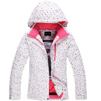 Wholesale Cheap Ski Jackets Women - Wholesale- Cheap ski jacket White Dot Womens Snowboard Jacket 10K Waterproof Windproof Winter Warm Girl Snow Suit Outdoor Skiing Clothes