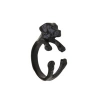 Wholesale Alloy 3d Style Rings - New Punk Style Cocker Spaniel Rings ,Adjustable 3D Animal Rings Dog Black Antique Silver Bronze Punk Style For Special Gift