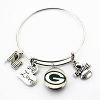 Wholesale I Love Football - The European and American fashion 10pcs I Love Football Snap Bracelet Jewelry Snap Button Adjustable Expandable Bangle Bracelets