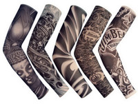 Wholesale temporary tattoo sleeves for men - 5 PCS New Mixed 92%Nylon Elastic Fake Temporary Tattoo Sleeve Designs Body Arm Stockings Tattoo For Cool Men Women