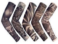 mangas falsas tatuagem para as mulheres venda por atacado-5 PCS Novo Misturado 92% Nylon Elastic Falso Manga Tatuagem Temporária Designs Corpo Braço Meias Tatuagem Para Cool Men mulheres