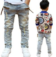 Wholesale kids jeans boys - High quality Children's clothing Spring and Autumn kids pants boys baby Stretch joker jeans children jeans stitching Pants boy's Casual Jean
