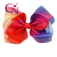 "Wholesale Glitter Clips - 7 "" Glitter Rainbow Hair Bow Jumbo Hair Bow On Clip Grosgrain Ribbon Bows For School Baby Girls"