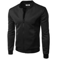 Wholesale Varsity Jacket Designs - Wholesale- New Bomber Jacket Men 2015 British Fashion Design Mens Slim Fit College Baseball Jacket Brand Varsity Jacket Sweatshirt Homme