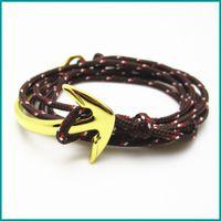 Wholesale Nautical Friendship Bracelet - Free Shipping 5pcs  lot Handmade Gunmetal Plating Half Cuff Anchor Cowhide Leather Charm Nautical Personalised Friendship Bracelets