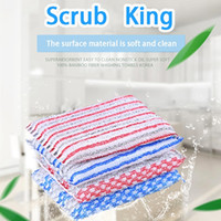Wholesale Practical color kitchen supplies sponge rub cleaning supplies blue and white stripes nano rust proof scrub sponge washing