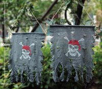 Wholesale Pirate Party Flags - Shredded pirate flag Halloween party decorations props terror Ghost flag Halloween flag Hunted house Broken curtain Black festive supplies
