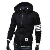Wholesale Long Zip Up Hoodies - Wholesale-Black White Sleeve Zip-Up Hoodie Men M-3XL (Asia Size)