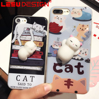 Wholesale Silicone Cell Pouches - 2017 New good quality 3d silicone cell phone case for apple iphone 7 silicone cat 3d case for iphone shockproof case free shipment