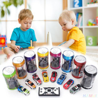 Wholesale Gifts Car Racing - Creative Coke Can Remote Control Mini Speed RC Micro Racing Car Vehicles Gift For Kids Xmas Gift Radio Contro Vehicles 1:64