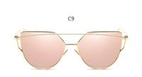 bayan güneş gözlüğü altın toptan satış-Yeni Kedi göz Kadın Güneş Gözlüğü 2019 Yeni Marka Tasarım Ayna Düz Gül Altın Vintage Cateye Moda güneş gözlükleri lady Gözlük UV400 VE53