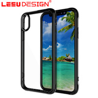 Wholesale Design Back Covers - LEEU DESIGN pc tpu for iphone x case hard back cover Transparent acrylic + Soft TPU Frame case for iphone 8 plus for sale