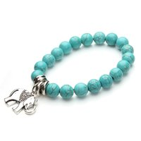 Wholesale Tibetan Silver Beads Elephant - Wholesale- Turquoise Beads Nature Stone Bracelets & Bangles with Tibetan Silver Elephant Charms for Women Gift F2819