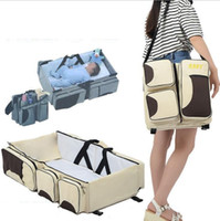 Wholesale Bassinet Strollers - 3 in 1 Diaper Bag Travel Bassinet Change Station Baby Tote Bag Bed Muli-Purpose Mother Bag Stroller Bags Nappy Baby Bags KKA2179