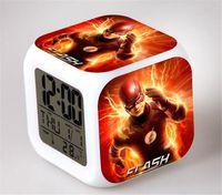 Wholesale Dc Superheroes Logo - Wholesale- 22Styles Flash DC Superhero Clocks The Flash Logo Hot Cartoon Comic Clocks LED Colorful Glowing Digital Alarm Clock Nightlight