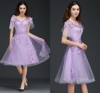 Wholesale Fairy Models - Fairy Lilac A Line Homecoming Dresses For Girls 3D Appliques Lace Knee Length Prom Dresses Low Back Short Sleeves Homecoming Gowns CPS673