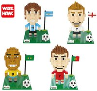 Wholesale Ronaldo Toy - Wisehawk Beckham blocks kawaii action Messi figures football famous player super star Ronaldo diy building bricks toy for boys