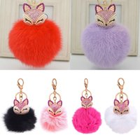 Wholesale Lovely Lovers Photos - Lovely Fox Fur Ball Keychain Rhinestone Key Chain Ring Bag Purse Pendant Keyring for girlfriend friend gift
