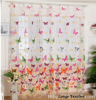 Wholesale burnout butterfly child sheer curtains window curtain screening tulle curtain panel for kids living room modern voile curtains