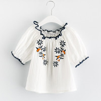 Wholesale Wholesale Half Sleeve Shirts - 2017 Summer Girls Tops Floral Embroidered Flare Sleeve Kids Shirts Off Shoulder Ruffle Children Tee Shirts Ethnic Style Girl Blouse C711