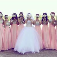 Wholesale Bridesmaid Rhinestone Shirts - Custom made rhinestone vestidos de festa sheer scoop neck sleeveless bridesmaid dresses long floor chiffon maid of honor dress
