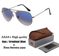 tatil vakaları toptan satış-En kaliteli Degrade Cam lens klasik pilot güneş gözlüğü erkek kadın Tatil moda güneş gözlükleri ile ücretsiz kılıfları ve aksesuarları