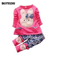 Wholesale Dropshipping Baby Clothes - Wholesale- Dropshipping 2016 new baby girl clothing set kids long sleeve cartoon rabbit suit T-shirt +pants children spring autumn 2pcs set
