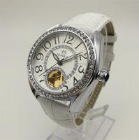Wholesale Cheap Diamonds China - Mechanical Watches Brand Women Belt Digital Decorated Diamond Watch China Cheap Label Automatic Hollow White Watch