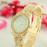 Wholesale Gold Flowered Watch - Womens Watch Rose Gold Woman Diamond Flower Watches Brand Luxury Ladies Dresses Female Folding Buckle Wristwatch Gifts For Girls