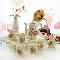 Wholesale Tea Tray Designs - Porcelain coffee cup set ivory porcelain flower design outline in gold 8pcs(L) coffee set coffee pot tea jug cup set tea tray
