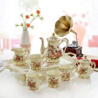 ingrosso vasi di fiori d'oro-Set da caffè in porcellana set di fiori in porcellana avorio contorno in oro 8 pezzi (L) set da caffè caffettiera tea jug cup set vassoio da tè