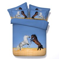 vente de couvre-lits en coton roi achat en gros de-Hot Sale Blue Fightling Horse Animal Ensemble de literie 3D Twin Full Queen King Size Tissu Coton Couvre-lit Dovet Covers Oreiller Shams Consolateur