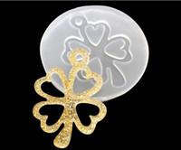 Wholesale Diy Frame Pendant - 1pcs clover frame Liquid silicone mold DIY resin jewelry pendant necklace pendant lanugo mold resin molds for jewelry