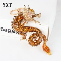 Wholesale Chinese Zodiac Charms - New Zodiac Chinese Long Dragon New Cute Crystal Charm Pendant Purse Bag Car Key Ring Chain Wedding Party Creative Gift