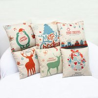 Wholesale Flax Weaving - 20Pieces  Lot Christmas Gift Pillow Case Synthesis Of Flax Merry Christmas Small Bell Cotton Linen Throw Pillow Cases