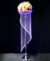 Wholesale Wholesale Led Crystal Frames - European 90cm crystal wedding decoration steel frame table stand candelabra centerpieces Road lead frame (Not include flower) LLFA