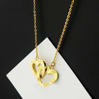Wholesale Titanium Necklace For Fashion - Hollow Heart Women Pendant Necklace 316L Titanium steel Love Charm Double Hearts Necklace Pendant Jewelry For Ladies Fashion Free shipping P