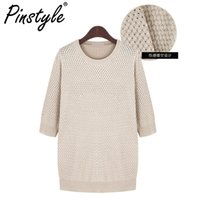 Wholesale Plus Size Warm Tops Womens - Wholesale-5XL Plus Size 2016 Womens Warm Sweaters Long Sleeve Knitwear Tops Autumn Poncho Smock Hollow Out Feminino Pullover Jumper