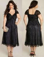 çay uzunluğu anne damat elbiseler kolları toptan satış-Zarif Anne Gelin Elbiseler Taraklı Kısa Kollu Artı Boyutu Siyah Dantel Anne Damat Çay Uzunluğu Örgün Önlükler Düğün Konuk Elbise