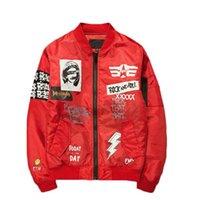 Wholesale Slimming Bomb - Plus Size M-5XL Brand New Jacket Men Print Plus Size Stand Collar Bomber Jacket Fashion Casual Outwear Men's Coat Bomb Baseball Jackets