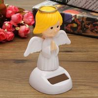 Wholesale Desk Ornament - Wholesale-Hot Sale Solar Toys Plastic ABS Dancing Fun Angel Flip Flap Powered Toys For Desk Home Ornaments Decor Toys