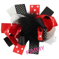 Wholesale Marabou Hair Bows Wholesale - 100pcs lot Marabou Puff Bows - Feather Hair Bows - Large 5 inch Hairbows