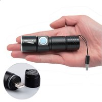 Wholesale Diving Flashing Lights - USB Handy Powerful LED Flashlight Rechargeable Torch usb Flash Light Bike Pocket LED Zoomable Lamp For Hunting Black