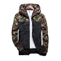 chaqueta de primavera masculina al por mayor-2017 hombres de la primavera abrigo de camuflaje para hombre sudaderas con capucha chaqueta informal de marca ropa para hombre abrigos rompevientos para hombre outwear 5XL
