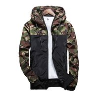 Wholesale male clothes - 2017 Spring Men's Camouflage Coat Mens Hoodies Casual Jacket Brand Clothing Mens Windbreaker Coats Male Outwear 5XL