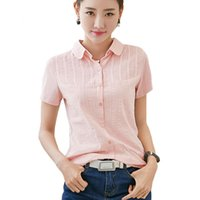 Wholesale Womens Office Cotton Shirts - 2017 Summer White Shirt Womens Tops blouse Women Blouses Cotton Ladies Office Shirts Embroidery Pink Korean Fashion Clothing