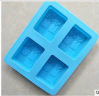 Wholesale Silicone Soap Molds Trees - Wholesale 4holes Happy tree DIY handmade soap mold silicone cold soap molds baking tools bakeware kitchen home