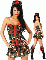 Wholesale Sex Party Wear - A Set Camouflage Nurse Costumes Mardi Gras Party Role Play Hot Sexy Dress Cub wear Nice Gift Women Exotic Apparel Sex Set Show Women Sexy