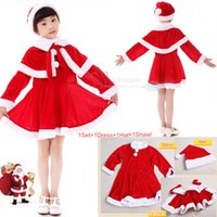 Wholesale 12 Red Santa Hat - Baby Girls Christmas Santa Claus Fancy Dress with Shawl Hat Outfit Set Kids Christmas clothing Girls Christmas Dress LA321-2